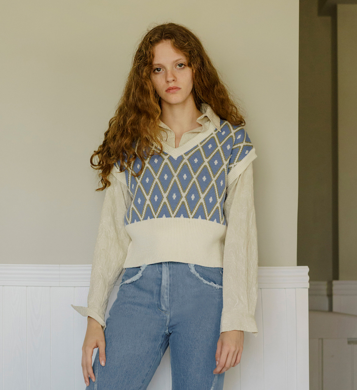GOJO独立设计师品牌复古菱形格纹针织背心马甲外穿秋冬