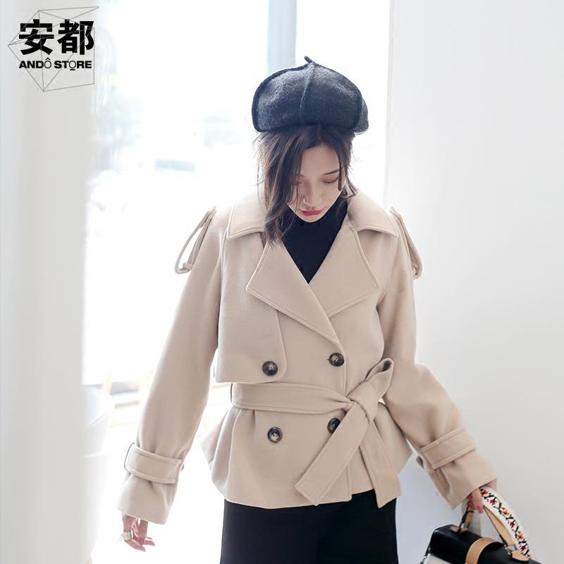 2018秋冬新款毛呢外套女宽松短款小个子系带翻领