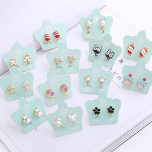 Cartoon ear clips without piercings female cute Japanese teenage students short simple compact wild small fresh earrings