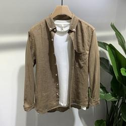 2019夏季新款男士纯色休闲亚麻透气薄款韩版简约青年打底长袖衬衫