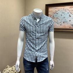 夏装男士短袖衬衫韩版修身英伦绅士休闲寸衫男青年半袖格子衬衣服