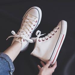 人本高帮帆布鞋女春款韩版百搭休闲板鞋女平底学生运动鞋白色球鞋