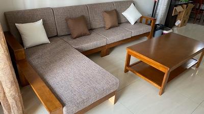 新中式实木沙发组合转角可拆洗布艺沙发三人大小户型客厅整装家具