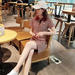 2021夏季短袖休闲运动女修身中长款条纹POLO领连衣裙翻领A字T恤裙