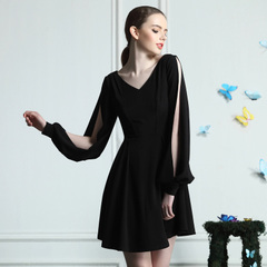 Retro hollow v-neck Dolman sleeve girl sexy elegant dresses, little black dress for a pencil skirt high waist spring 9938