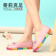 Tillie spring/summer cool feet in 2015 leather flat bottom-casual fish mouth student sandal woman thick