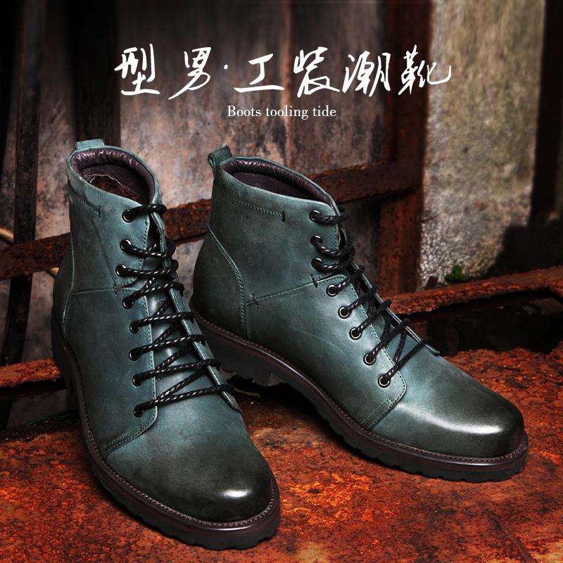 布莱希尔顿英伦复古时尚户外军靴工装靴男绒工装鞋冬高帮马丁鞋