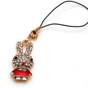 Smiling happy Bunny mobile pendant lovely pendants diamond pendant Korean small pendant 359443