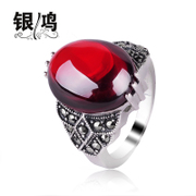 Silver Hong-Korean fashion red garnet ring 925 Silver vintage old silversmith Thai silver finger ring