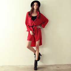 Europe Spring Street red retro Wavelet prints loose shirt style dress skirts 9025