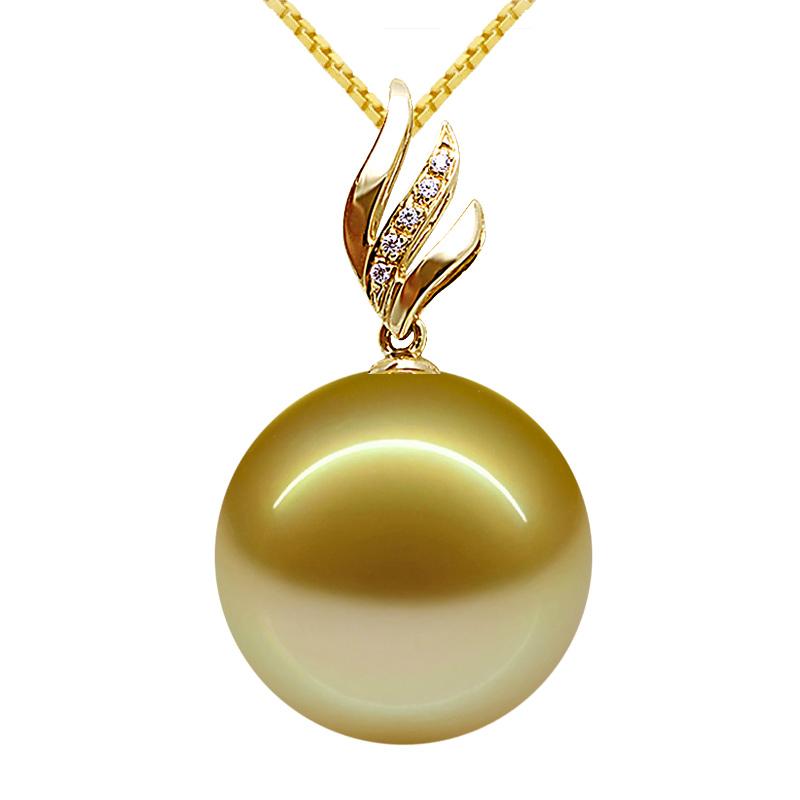 金色南洋母贝珍珠吊坠单颗淡水珍珠吊坠项链正圆无暇925纯银托