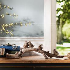 奇居良品 欧美式复古创意树脂家居装饰摆件 蒙蒂复古色鸟树枝 H