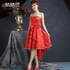 Purple Elf short before 2015 new bride long dresses wedding toast yarn red lace dress after dress