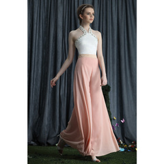 Elegant pink romantic chiffon trousers large pendulum-style wide leg Pant simple color high-waisted Culottes 9029