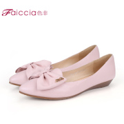 Non counter bows pointed wedges women's shoes genuine Sheepskin WHAM50201B