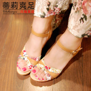Tilly cool feet in summer 2015 national wind new printing shoes comfortable versatile leather sandals