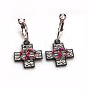 Post Korean version of smile package cross Crystal rhinestone earring earring earring earring Korea earloop jewelry women
