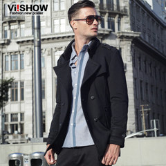 Viishow2014 new winter trench coats men long lapel badges of England in authentic fashion men's jackets