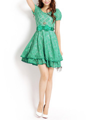 Princess summer morning counters ~ new sweet swing lace dress with short sleeves send Butterfly Necklaces and belts