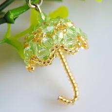 水晶串珠diy手工材料包教程成品 日本进口米珠 小雨伞手机链挂件