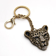 Smiling jewelry rhinestone key chains pendant accessories Korean Leopard head full rhinestone jewelry 6