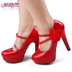 Purple Fairy bride wedding shoes red flower high heel women|s shoes shoes shoes the Princess Bride X14010-