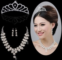 Bridal Wedding Necklace accessories bridal crown necklace jewelry wedding dress accessories 3 Piece Set
