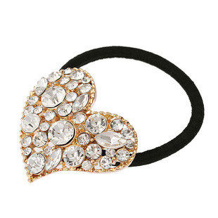 B036 good jewelry rope Super Korean love peach Heart Rhinestone hair tie rope