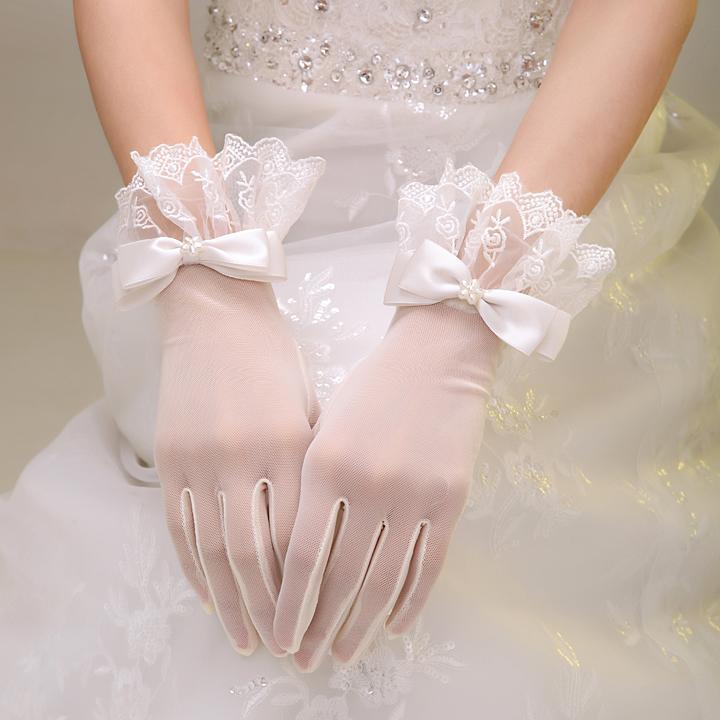2019新款新娘结婚婚纱婚礼手套蕾丝花边短款白色蝴蝶结春季配件