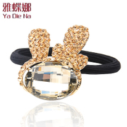 Ya na Crystal rhinestone genuine rabbit hair rope Korean hair accessories hair clasp Y295