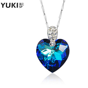 Ladies silver necklace 925 Silver jewelry YUKI network short clavicle chain Crystal heart of the ocean of love