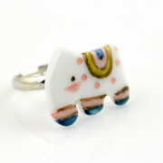 2016 cartoon super cute handmade India elephant cute female ceramic jewelry ring ring the new year gift specials