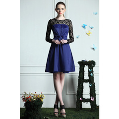 Sexy spliced Black Lace elegant folding chest strap dress dark blue wrapped France socialite skirts 9985
