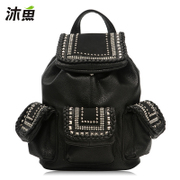 2015 new rivets for Mu-fish bag shoulder handbag backpack girl Korean version flashes clean bag student bag