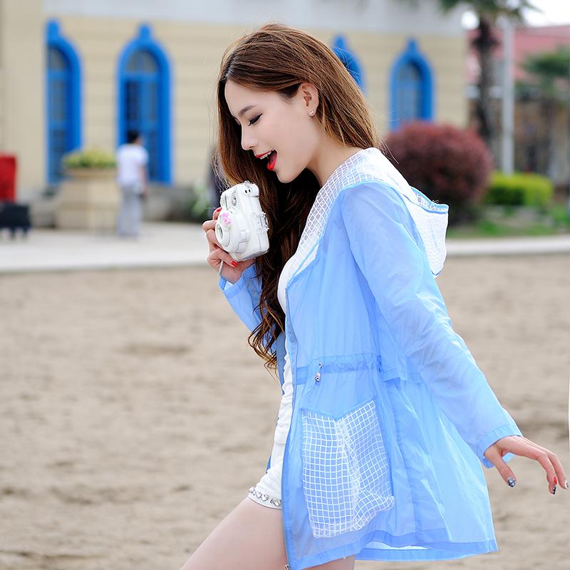 衣卡舍2018女夏季中长款薄款韩版透气宽松大码外套沙滩服
