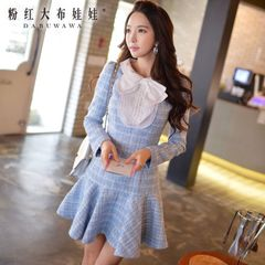 A-2015 Lotus Leaf hem dress big pink doll new long sleeve woolen autumn dress