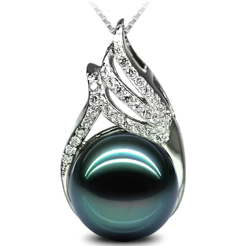 珍珠吊坠单颗 短款锁骨链 925银正圆大溪地黑珍珠母贝珠项链项坠