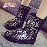 Yalaiya winter snow boots graffiti girls thick warm tube female boots waterproof thick soles and wool-cotton-padded shoes
