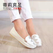 Tilly cool foot spring 2015 women's shoes leather leisure light shoes sequin flat soft beans shoes at the end of the lazy man shoes