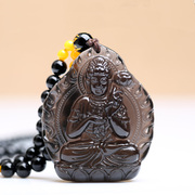 Opening ice kind of Obsidian bodhisattva pendant necklace for men and women born under the Buddhist guardian gods