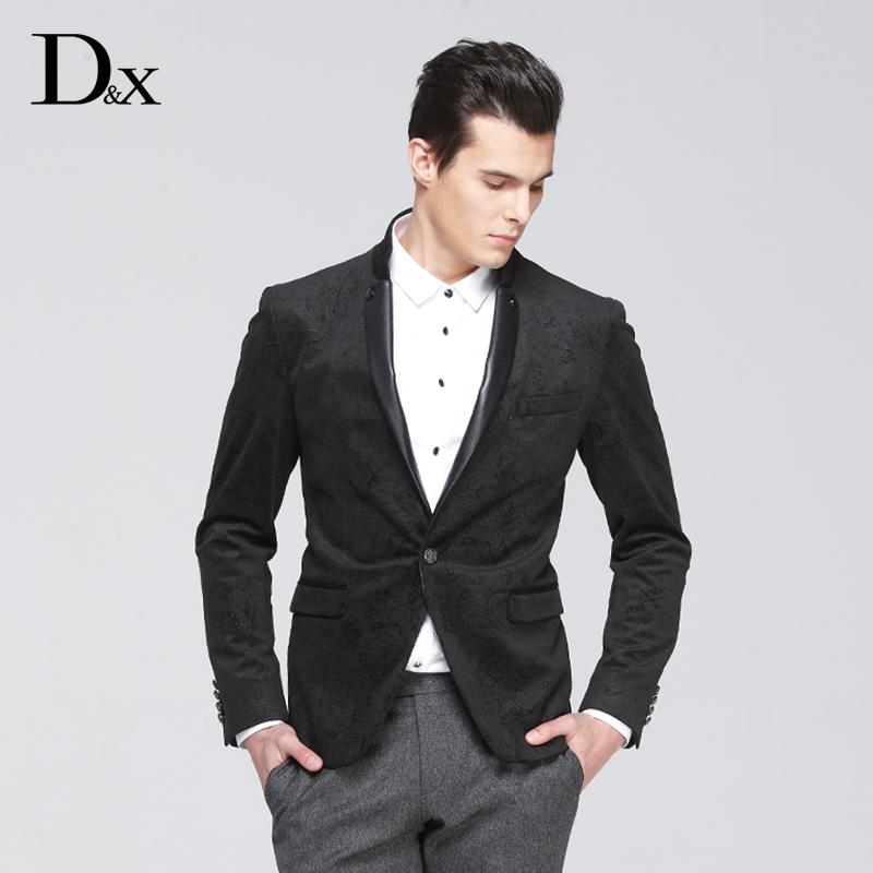 D&X意大利品牌男士秋季新款立�I西�b�r尚男士提花修身版休�e上衣