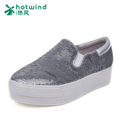 Hot air 2016 fashion shoes with thick-soled platform shoes sequin shoes women Lok Fu shoes with flat pedals H13W6108