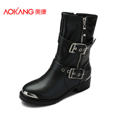 Aokang shoes leather soft cover with round head boots side zipper belt buckle for a comfortable warm in England women's boots