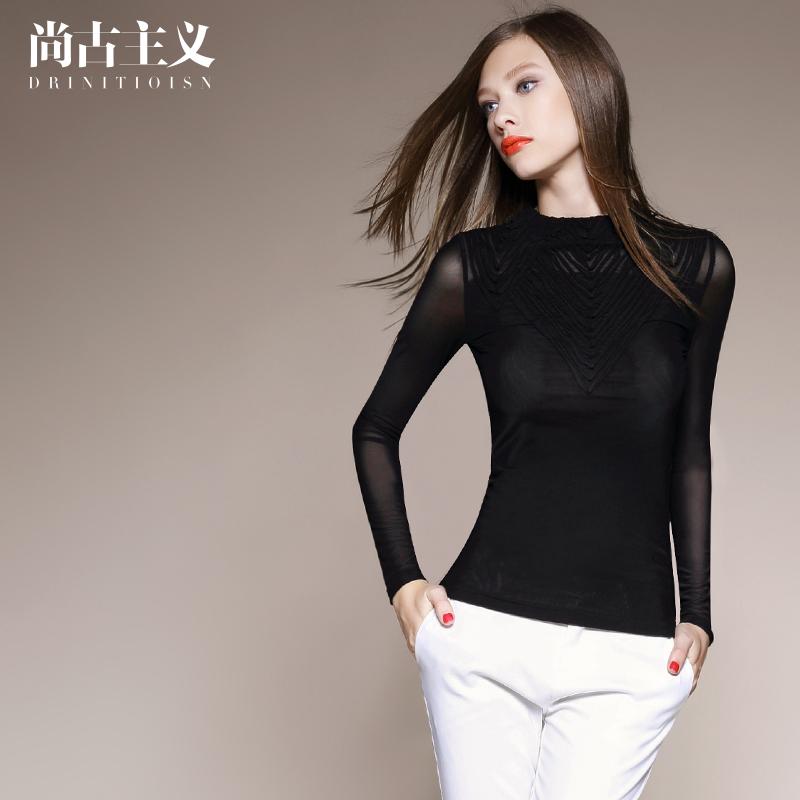 尚古主义欧美女装2016春装新款拼接薄款上衣纯色修身长袖雪纺衫