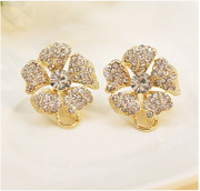 Korean fashion jewelry rhinestone zircon flower non pierced earrings ear clip hypoallergenic qualities exaggerating women earrings