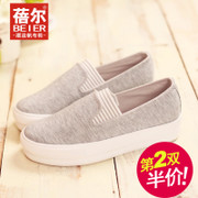 Becky-fall 2015 sneakers women''s shoes platform Lok Fu shoes stripes lazy students pedal shoes casual shoes