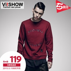 Viishow2015 spring sleeve crewneck sweater teen male tide letter a fake two piece slim leisure jacket