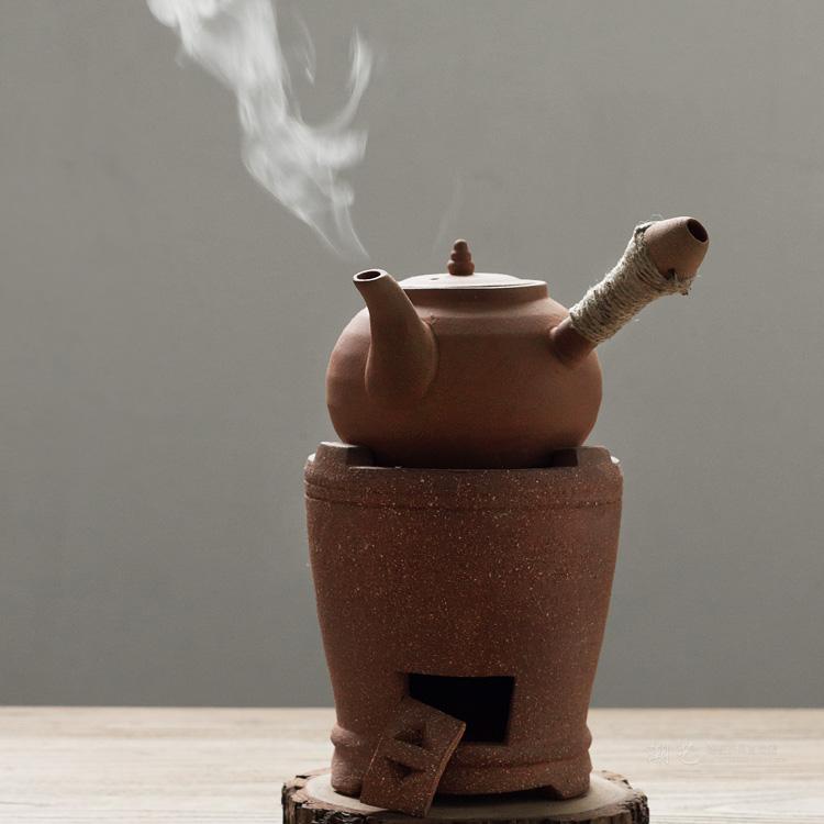 潮州红泥茶炉风炉 火炉炭炉 碳炉 砂铫壶 提梁侧把壶功夫茶炉套装