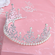 Good beauty bridal tiara Korean wedding photo accessories Queen Pearl rhinestone Crown wedding photography package mail