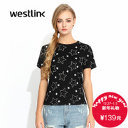 Westlink/West fall 2015 new Korean stars printed short sleeves round neck fitted dress shirt